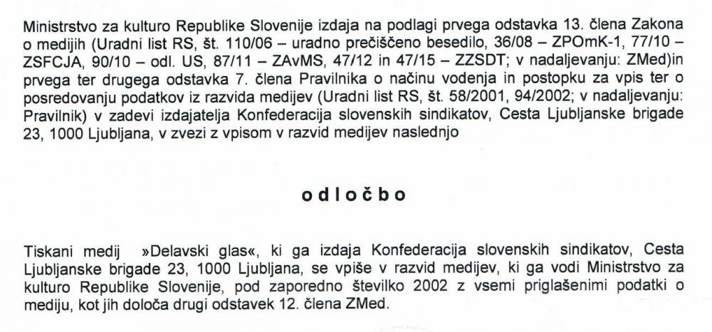 Delavski glas - informator KSS - izsek odločbe Ministrstva za kulturo o vpisu v razvid medijev.