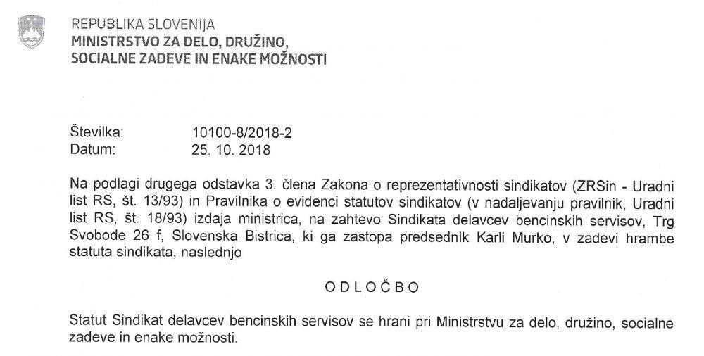 Izsek Odločbe o registraciji Sindikata delavcev bencinskih servisov - SDBS